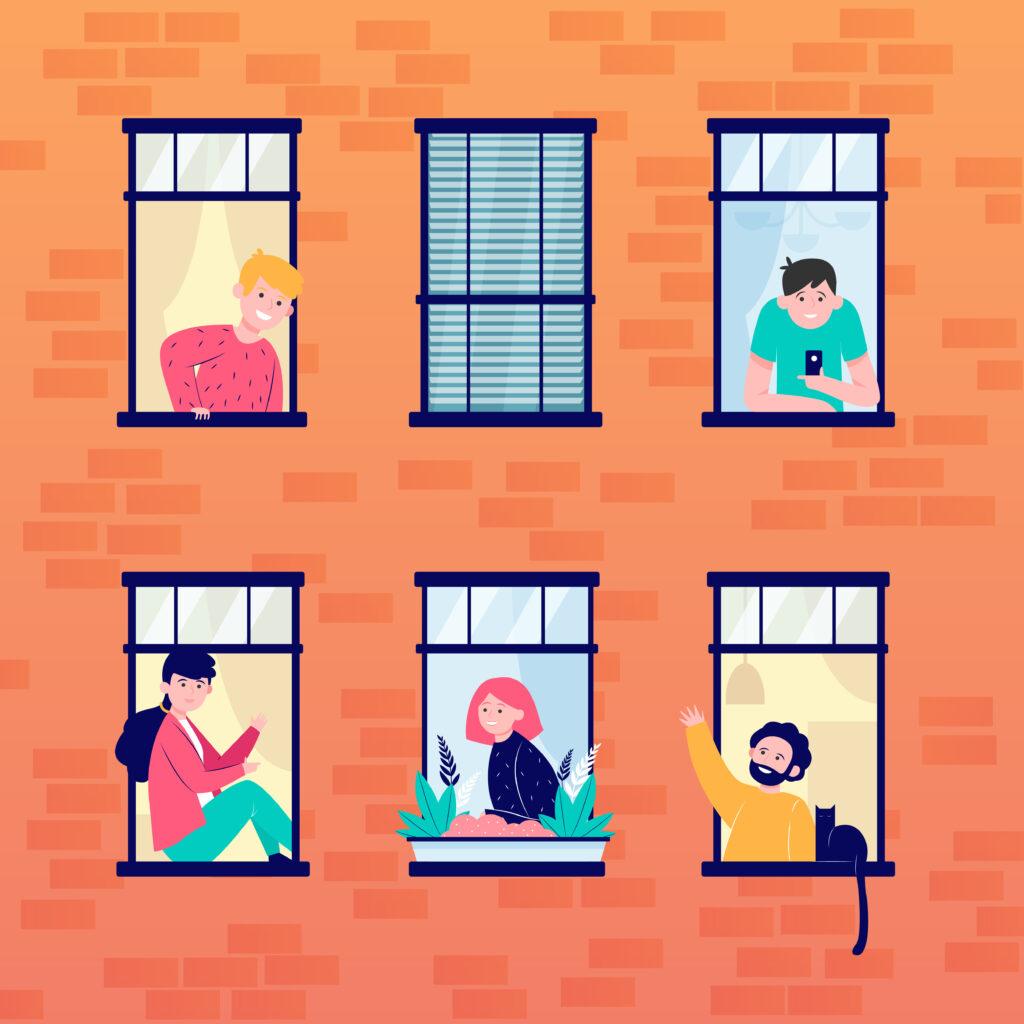 Encje przedstawione za pomocą rysunkowego obrazka budynku z otwartymi oknami, z których wyglądają ludzie