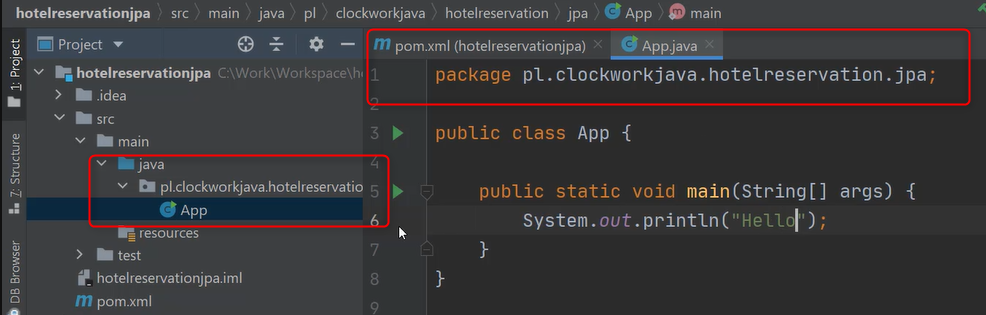 Widok pierwszej klasy App