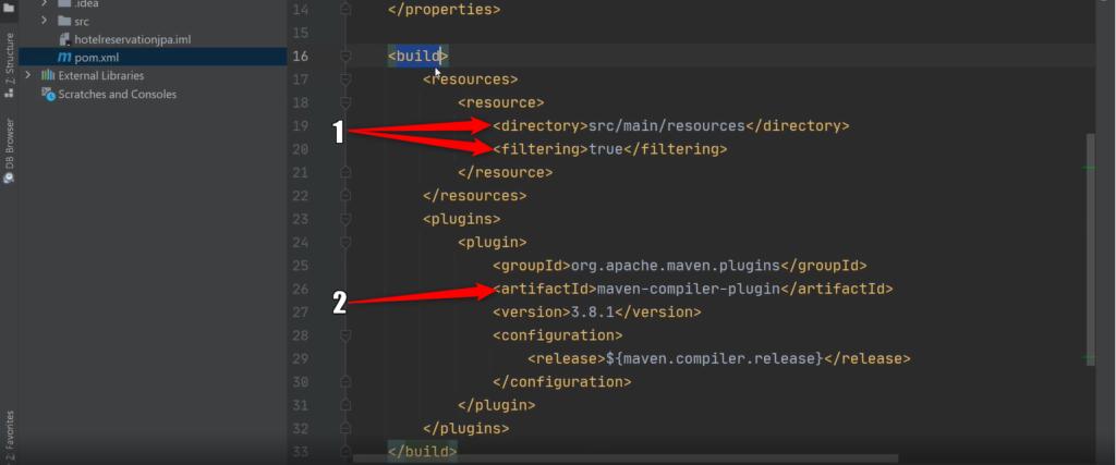 Konfiguracja pliku pom.xml w build